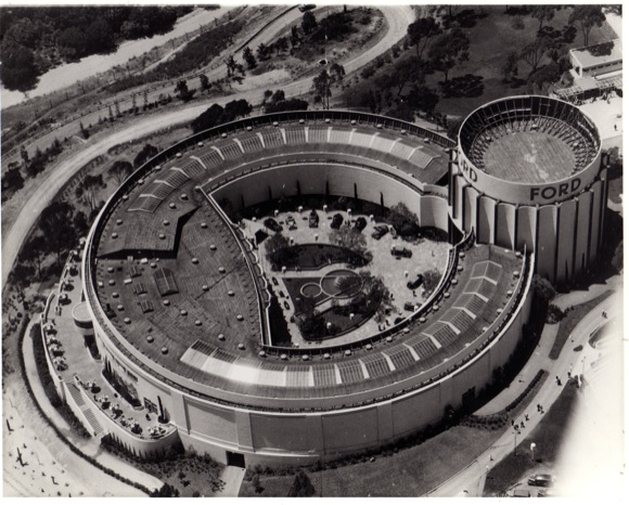 Aerial view of the Ford Building, 1935.