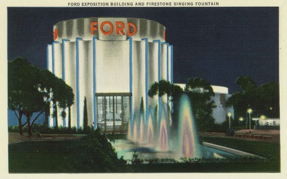 Entrance of the Ford Building with Firestone Singing Fountains, 1935. David Marshall Ephemra Collection