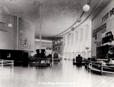 Exhibit interior half way around the exhibit hall, 1935